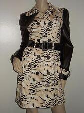NWT BEBE Animal Print TRENCH COAT JACKET Size MEDIUM  Black White $159