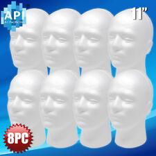 8pc 11' Male Styrofoam Foam Mannequin Manikin head wig display hat glasses