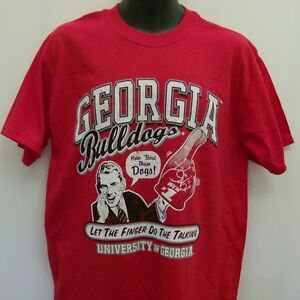 Georgia Bulldogs Red T-Shirt Adult Large Finger Talking Free Shipping