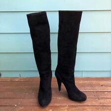 Bally Women's Edwina Black Suede Knee High-Heel Boots - Size 38