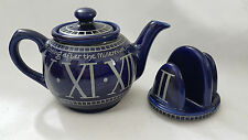 James Sadler Millennium Teapot and toast Holder cobalt blue