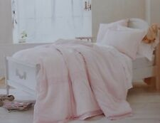 Simply Shabby Chic Pink Linen/Cotton Crochet Trim Comforter + Sham ~ NEW Twin