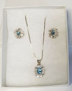 """Sterling Silver Aquamarine Cubic Zirconia 18"""" Necklace and Stud Post Earring Set"""