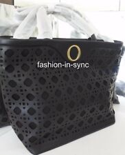 OROTON Safari Tote Handbag Crossbody Black Leather Gold tone Hardware RRP $695