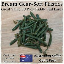 Soft Plastic Fishing Lures Paddle Tail Worm Grub Bait Bream Whiting 50pcs x 50mm