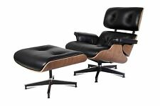 Eames Lounge Chair & Ottoman Reproduction Style Black Walnut Italian Leather