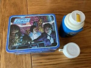 """First Edition Star wars """"Empire Strike Back"""" Metal Lunch Box with Thermos"""