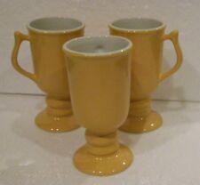 "3 HALL China Restaurant Ware IRISH COFFEE MUGS WARM YELLOW 5½"" tall # 1272 U.S.A"