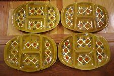 4 Vtg Italian Mid Century Modern Painted Glazed Ceramic Cocktail Plates Plates