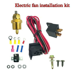Electric Cooling Engine Fan Wiring Install Set 185° Thermostat 50A Relay SBC BBC