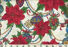 Quilting Treasures ~ Christmas Poinsettas Ornaments 100% Cotton Quilt Fabric BTY
