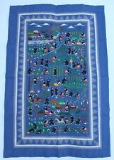 "Large Scale Hmong Embroidered Folk Story Cloth, Village Scenes (34""x50"")"