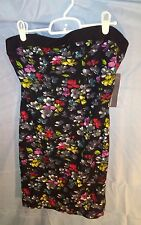 French Connection Strapless Tube Top Dress Black w/ Floral Print sz 10 NWT