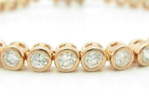 ROSE GOLD STERLING SILVER DIAMOND SET WHITE SAPPHIRE BEZEL TENNIS BRACELET GIFT