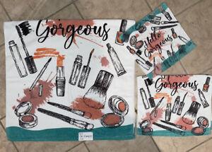 3-Pc Kassafina Makeup 💄 Hello Gorgeous Velour Bath Hand Fingertip Decor Towels