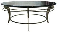 1980s Ethan Allen Brass & Glass Top Hollywood Regency Coffee or Cocktail Table