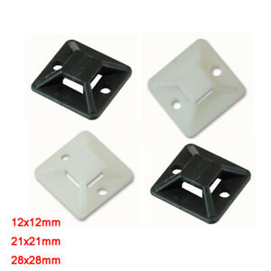 12/21/28mm Self Adhesive Stick Cable Tie Wire Base Mounts Fasteners Black White