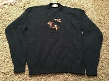 Vintage Lord Jeff Shetland Wool Crewneck Green Sweater, Embroidered Ducks Sz L