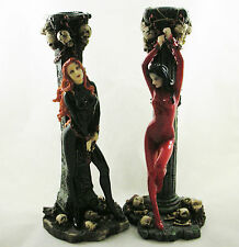 Two Latex Ladies Fetish Female Erotic Bondage Duo Figurine Candlestick Statue