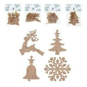 Glitter Rose Gold Hanging Christmas Decorations: Tree, Bell, Reindeer, Snowflake