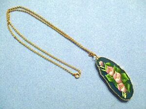 Sliced AGATE Floral NECKLACE Hand-Painted Reversible MINTY!! **SALE**