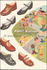 1955 Vintage ad for Poll-Parrot Shoes art cartoon bike red marbles 100117