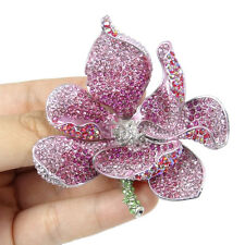 Gorgeous Orchid Flower Bud Pink Austrian Crystal Brooch Pin Silver Plated Lady