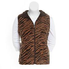 373517234d0ca Womens Plus Size 3x Zebra Print Zip Front Reversible Vest Front Pockets