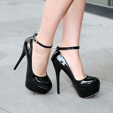 Women Sexy Ankle Strap High Heel Round Toe Platform Party Pumps Shoes Size 33-46