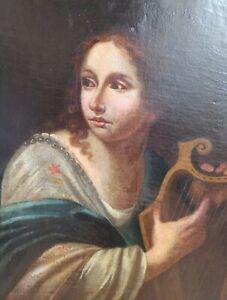dipinto antico olio su tela Scuola italiana del XVII sec. Dama con cetra