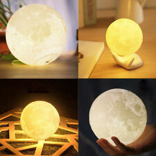 8CM 3D 1W USB Rechargeable Moon Luna LED Night Lamp Desktop Touch Sensor Lights