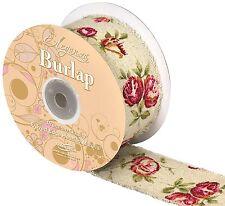 Eleganza Burlap Ribbon Frayed Edge Hessian Fabric Vintage Chic Rose Print 50mm 1 MTR