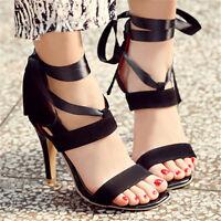 Women Bandages Lace Up High Heels Sandals Ladies Open Toe Stiletto Party Shoes