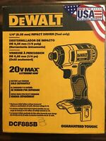New, Cordless Electric Impact Driver (Tool only) DEWALT DCF885B 20-Volt 1/4 in