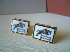 Vintage Goldtone Jumping Horse Steeplechase Cuff Links