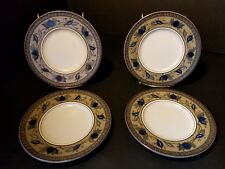 """Mikasa Intaglio """"ARABELLA""""  Saucer only ~ Blue Green Brown Leaves ~ Set of 4"""