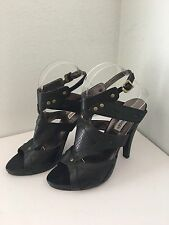 Steve Madden 8 Heels Black Leather Slingback Sandals Open Toe Studded Cut Outs
