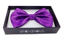 Neon Purple Men Women Bowtie Classic Clip-On Neck-wear Tuxedo Adjustable