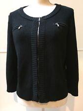 St John Soca Silk Black Ribbed Knit Zip Up Sweater Jacket Size L