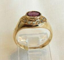 GARNET AND DIAMOND RING ~ 14K YELLOW GOLD ~ BEAUTIFUL SETTING .65 TCW