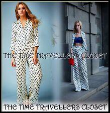 NEW TOPSHOP Kate Moss Cream Blue Pyjama Set Floral Blouse Palazzo Trousers UK 8