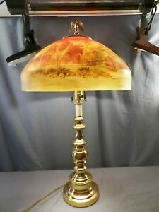 """Huge Electric Table Lamp Reverse Hand Painted Shade Landscape Scene 15 1/2"""" Wide"""