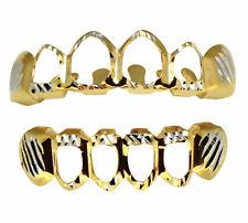 Open Face Two Tone Diamond Cut Custom Fit Teeth Top Bottom Grillz Hip Hop Grill