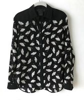 Miss WU by Jason Wu Silk Blouse Black White Leaf Print Career Size 0