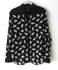 d30a94f3c816ea Miss WU by Jason Wu Silk Blouse Black White Leaf Print Career Size 0