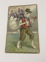 Antique 1906 Easter Embossed Greeting Card Dressed Rabbit with Pipe Bronx NY