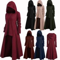 Steampunk Women Goth Long High Low Hooded Sweater Long Sleeve Pullover Knitwear