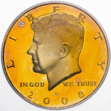 2008-S KENNEDY HALF DOLLAR ICG PR69 DCAM UNC GOLDEN TONED BU COLOR GEM (DR)