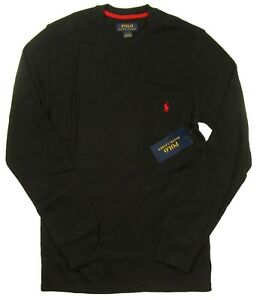 Polo Ralph Lauren Men's Black Waffle Knit Thermal Long Sleeve T-Shirt