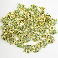 12Pcs Carved Tibetan Gold inlay Mixed Pave Crystal Heart Pendant Bead YJ-914PJ
